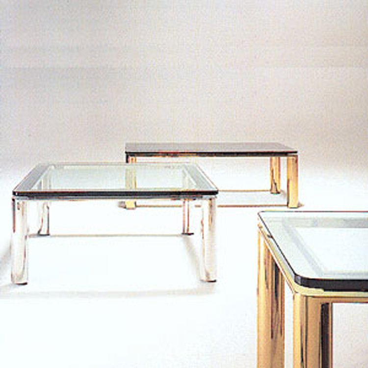 Brueton product low tables paulo low table harmonious interaction of elements characterizes this metal and glass table the radiused corner glass top rests on a reveal bar and traces the horizontal watchthetrailerfo